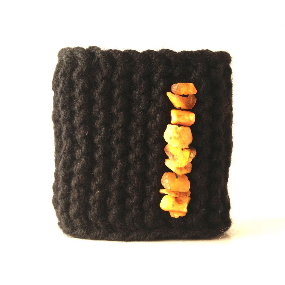 Soft cashmere bracelet with raw yellow amber
