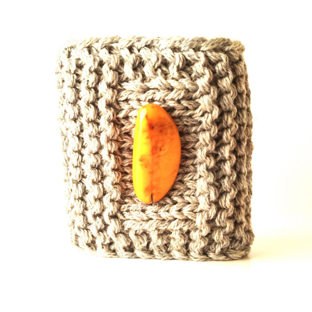 Soft cashmere bracelet with yellow amber