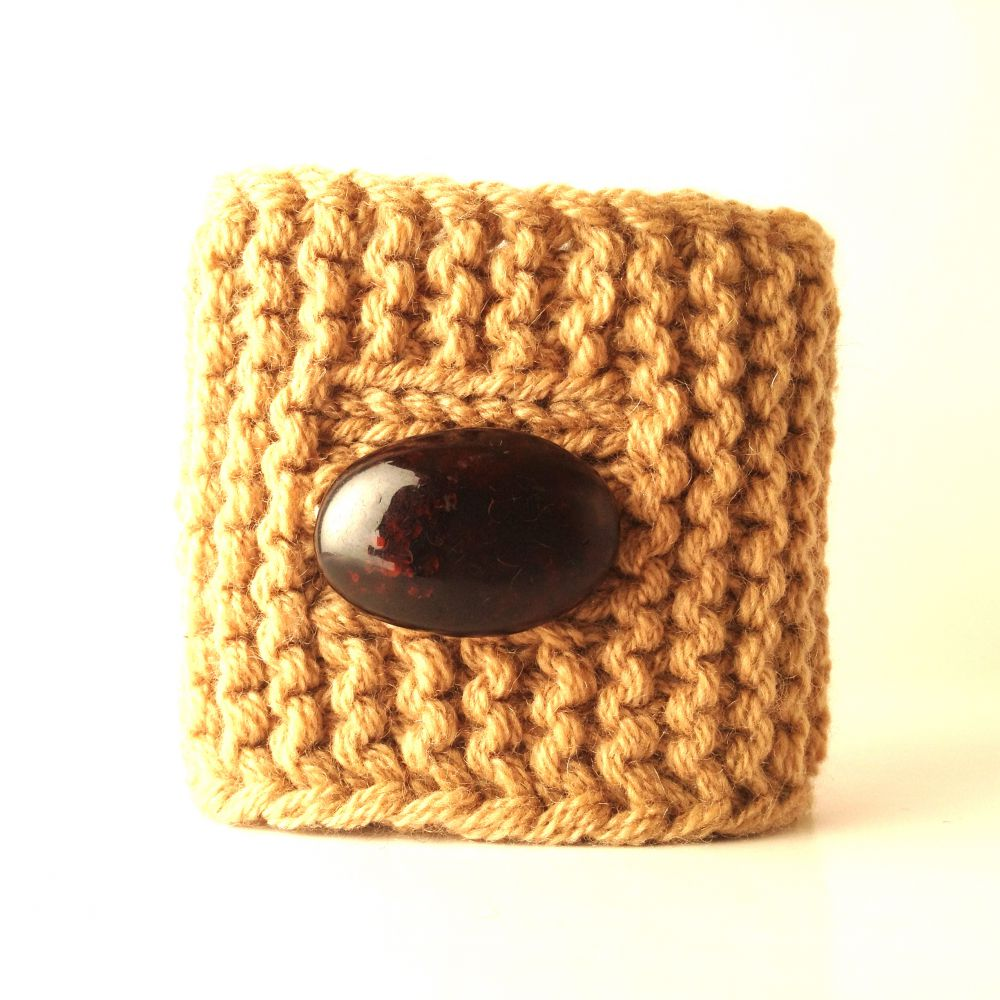 Soft cashmere bracelet with heavy amber