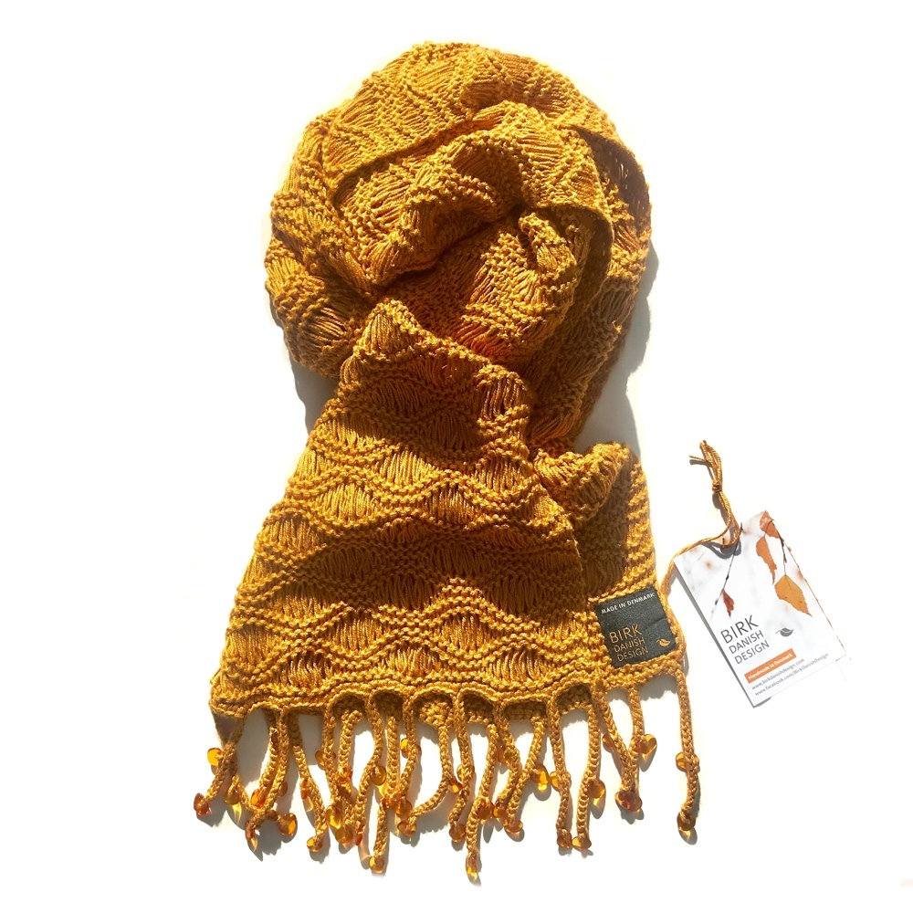 Exclusive amber fringe scarf. Viscose. Choose colour